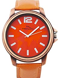 Latest Design Brown Leather Belt Watch, Round Red And Orange Dial Analog Watch For Men's/Boys Classic Fashionable...