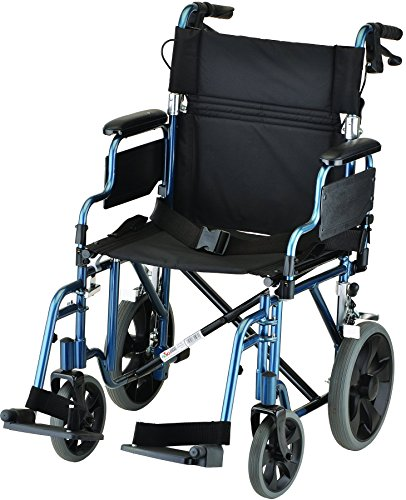 NOVA Medical Products 352 Lightweight Transport Chair with Detachable Desk Arms, Hand Brakes and 12″ Rear Wheels, 19″, Blue