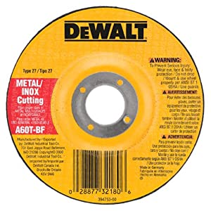 DEWALT DW8420 4-Inch by .045-Inch by 5/8-Inch Metal/INOX Cutting Wheel