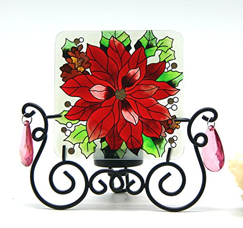 Candle Holder with Hand Painted Art Glass Table Topper Candleware Home Decor Kitchen Decor Spa Decor Office Decor Garden Decor Party Decor Birthday Gift Valentine's Day Gift (Beautiful Flower)