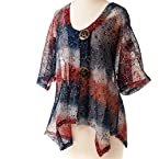 Red White and Blue Mesh Cardigan