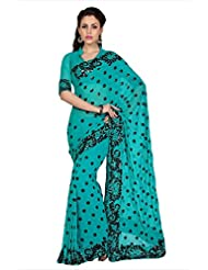 Designersareez Women Deep Teal Blue Faux Georgette Saree With Unstitched Blouse (1588)