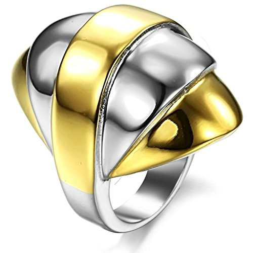 Stainless Steel Ring for Men, Knight Helmet Ring Gothic Silver Band Gold 5.5MM Size 12 Epinki