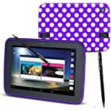 "ORZLY® - TESCO HUDL Tablet Accessory Pack - Protective Gel Case with Stylus Pen - Limited Edition POLKA DOT PURPLE Case / Cover / Skin designed by ORZLY® exclusively for Tesco Hudl 7 inch Tablet ( Tesco's first ever 7"" Tablet - Released in 2013 ) Case includes BONUS: ORZLY Stylus Pen"