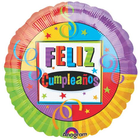 "Colorful Feliz Cumpleanos Birthday 18"" Mylar Balloon"
