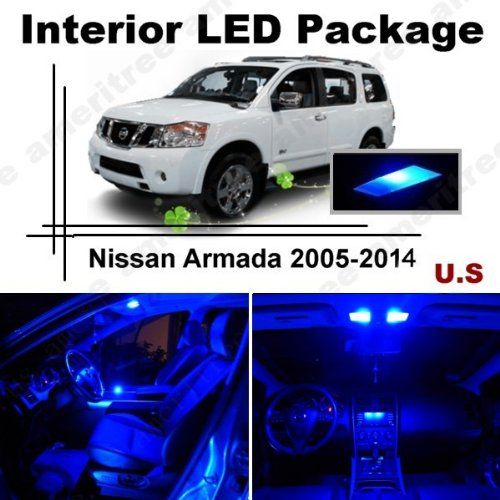 Ameritree Blue Led Lights Interior Package + Blue Led License Plate Kit For Nissan Armada 2005-2014 (13 Pieces)