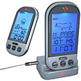 Wireless Meat Thermometer by KONA ~ Best Digital Meat Thermometer For Smokers/Grill/BBQ/Candy & Fondue ~ 100ft Range ~ Blue Backlit Digital LED Screen