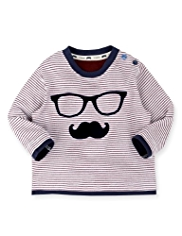 Autograph Pure Cotton Moustache & Spectacles Print T-Shirt