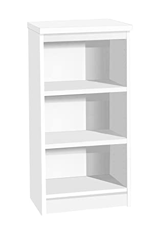 "M-B48-IN-WH White Narrow Bookcase No Assembly Required Home Office Furniture UK Contemporary Book Shelf Shelves Shelving Solid LP & 7"" Vinyl Record Storage Unit Cabinet Free Standing"