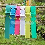 Generic Pink : 100pcs Wrap Around Plastic Garden Plant Label Tree Tags 5 Colors