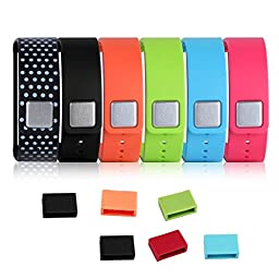 Vastar ® 6 in 1 (Black / Pink / Green / Light Blue / Orange / Black with White Dots Spots) Replacement Bands & Metal Clasps + 6 Silicon Fastener Rings, for Samsung Galaxy Gear Fit Smart Watch Bracelet Wristband Wireless Activity Bracelet Sport Bracelet S