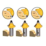 Yonico 13320 3 Bit Edging Molding Router Bit Set with Small Designer 1/2-Inch Shank