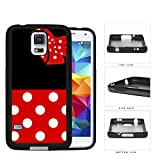 Cute Red and White Polka Dots Pattern on Bottom and Bow with Black Background Hard Rubber TPU Phone Case Cover Samsung Galaxy S5 I9600