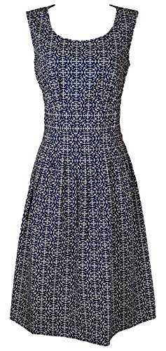 New Seasalt Blue & Cream Anchor Print Gylly Cotton Summer Dress (10)