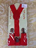 NEW BOYS GIRLS KIDS CLIP-ON Y-Back Elastic Suspenders 1.5CM WIDTH (free standard shipping within USA!) (Red)