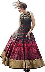 SK Fashion Women's Black-Red Banglori Anarkali Unstitched Salwar Suit Dress Material (Dress_193_FreeSize_Black-Red)