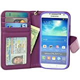 Navor Samsung Galaxy S4 Folio Wallet Leather Case for Cards & Money Pockets, Stand Feature, ID Window (Purple)