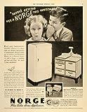 1936 Ad Norge Home Appliances Concentrator Range Fridge - Original Print Ad ....