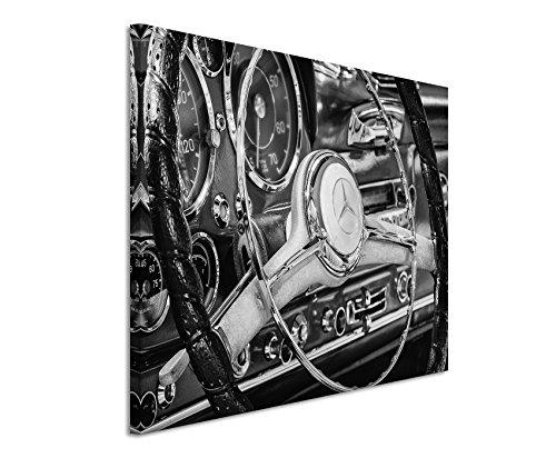 50x70cm Leinwandbild schwarz weiß in Topqualität Retro Bild Mercedes -Benz