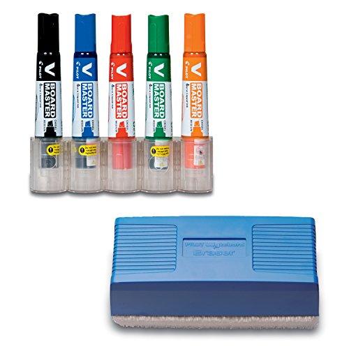 Pilot pen 5081KIT v-board master begreen-épaisseur 2, 2-5,2 mm-lot de 5 noir/rouge/bleu/vert/orange
