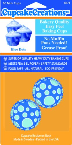 Cupcake Creations Baking Cups, Mini, 60-Pack, Blue Dots