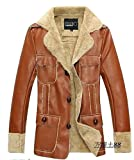 Mens Pu Leather Fur Lining Suede Hooy Wool Jacket Coat Trench Parka Outwear by NYC Leather Factory Outlet