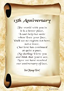 13th Anniversary Personalised Poem Gift Print Amazon Co