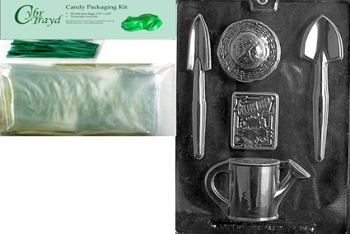 Cybrtrayd Gardening Kit Fruits and Vegetables Chocolate Candy Mold with Packaging Bundle of 50 Cello Bags, 50 Green Twist Ties and Chocolate Molding Instructions
