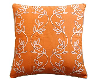 Throw Pillow Patterns Piping : Amazon.com: Vine Embroidery with Piping Decorative Throw Pillow COVER 18