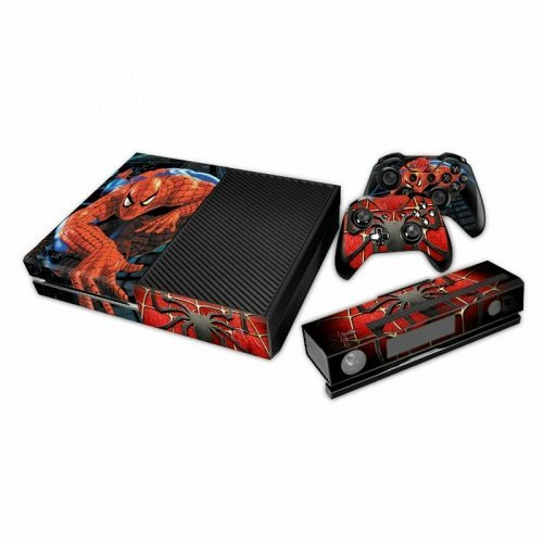 Designer Xbox One Vinyl Skin Spider Man Web Crawling wood grain oak 01 holiday bundle decal style skin set fits xbox one console kinect and 2 controllers xbox system sold separately