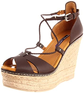 Ralph Lauren Collection Women's Fireeda Wedge Espadrille,Dark Brown,6.5 B US