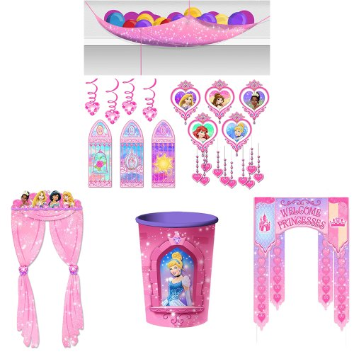 Disney Very Important Princess Dream Party Decorations Kit Including Ballon Drop, Door Banner, Doorway Curtain, Room Kit And 16Oz. Cup. front-1080569