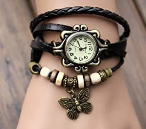 butterfly pendant Quartz Fashion Weave Wrap Around Leather Bracelet Lady Woman Wrist Watch (Black)