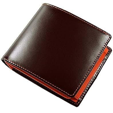 コードバン×牛革 ステッチがおしゃれな二つ折り財布 [ Maturi ] メンズ 紳士 誕生日プレゼント 3009 (ブラウン×オレンジ)