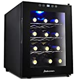 Kalamera 12 Bottle Freestanding Wine Cooler CounterTop Fridge, Wine Storage Refrigerator with Digital Temperature Display