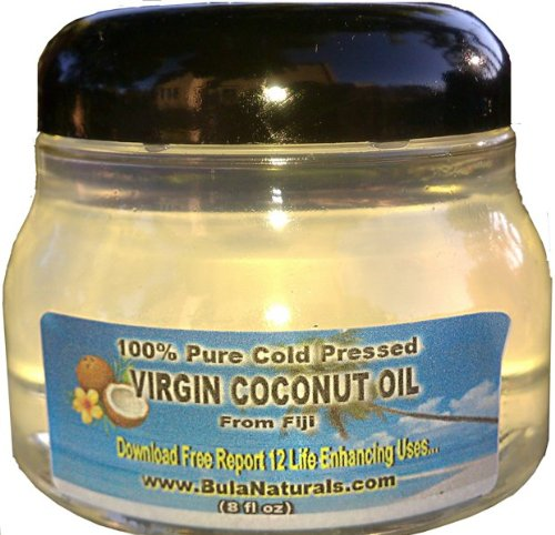 Bula Naturals Virgin Coconut Oil from Fiji in small widemouth PET Plastic Container