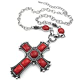 Konov Jewellery Womens Vintage Large Gothic Cross Pendant Necklace & Chain, Colour Red Silver (with Gift Bag)