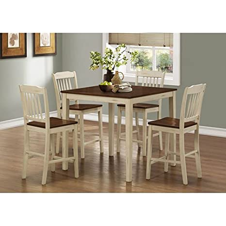 Monarch Specialties Antique White/Walnut 5-Piece Counter Height Dining Set