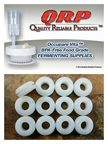 12 QRP GROMMETS BPA-FREE FOOD GRADE WHITE SILICONE for Fermenting with Airlocks Bulk Quantities Available (Grommets For Mason Jars compare prices)