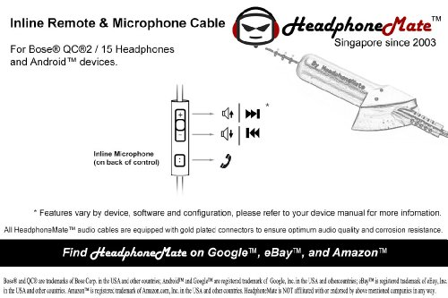 HeadphoneMate Inline Remote and Microphone Cable for Bose QC15 QC2 and Samsung and Android Smartphones