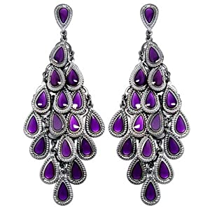 Heirloom Finds Gorgeous Deep Purple Enamel and Silver Tone Chandelier Earrings