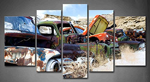 5 Panel Wall Art Old Classic And Vintage Cars At Rural Junkyard In Winter Painting Pictures Print On Canvas Car The Picture For Home Modern Decoration piece (Stretched By Wooden Frame,Ready To Hang) (Canvas Wall Art Classic Cars compare prices)