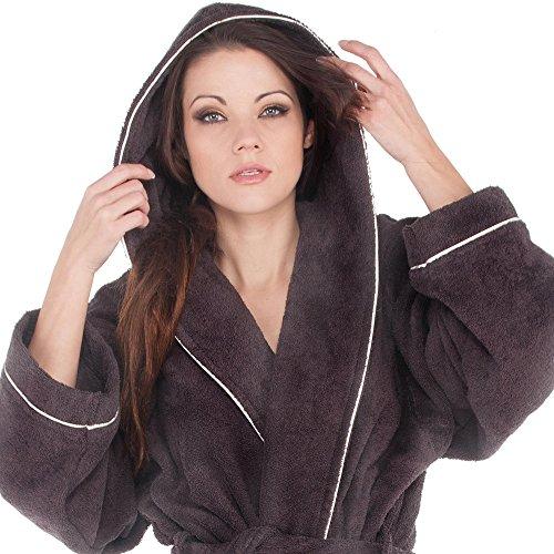 Bademantel für Damen & Herren | Baumwolle Frottee mit Biese und Kapuze | aqua-textil Amrum 0010003 | XL anthrazit -