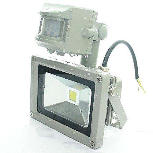 Quans 110V 220V Ac 10W Ultra Bright Cool White Warm 6000K 3000K Led Pir Motion Sensor Security Wash Flood Light Floodlight Lamp High Power Gray Case Waterproof Work In The Rain Superbright (Warm White)