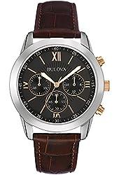 Bulova 98A142 Mens Dress Brown Leather Strap Watch