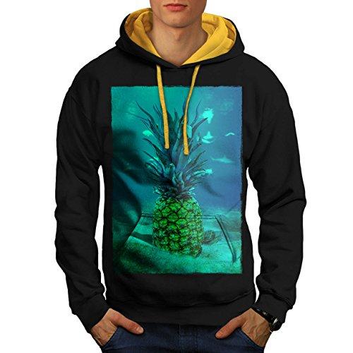 Underwater Pineapple Sea Fruit Men NEW Black M Contrast Hoodie | Wellcoda (Sea Creature Pasta compare prices)