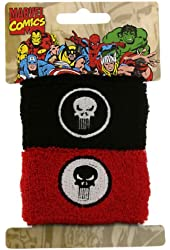 Marvel Comics Punisher Double Skull Cuff Sweat Bands Pony Tail Wraps 2023