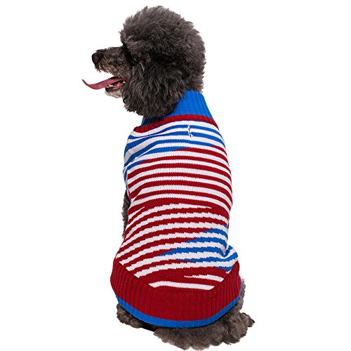 Blueberry Pet 14-Inch Tricolor Flag Inspired Sloping Striped Dog Sweater, Large front-931488
