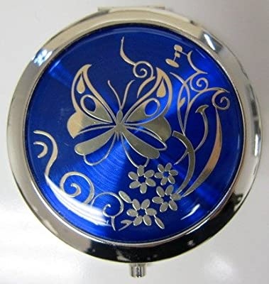 Best Cheap Deal for Purse Handbag Double Compact Cosmetic Mirror - Butterfly - Dark Blue by Gift Square D¨¦cor - Free 2 Day Shipping Available