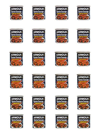 Armour Vienna Sausage 24 Pack Assortment- 8 Bbq, 8 Hot & Spicy, 8 Smoked, All Cans 4.75 Oz